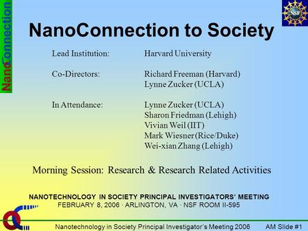 AM Slide #1Nanotechnology in Society Principal Investigators Meeting 2006 NanoConnection to Society NANOTECHNOLOGY IN SOCIETY PRINCIPAL INVESTIGATORS MEETING.