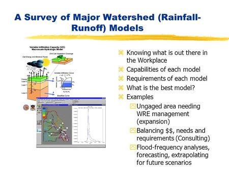 A Survey of Major Watershed (Rainfall- Runoff) Models z Knowing what is out there in the Workplace z Capabilities of each model z Requirements of each.