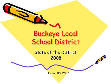 Buckeye Local School District State of the District 2008 2008 August 05, 2008.