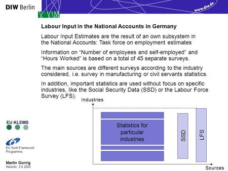 Martin Gornig Helsinki, 9.6.2005 EU Sixth Framework Programme Labour Input Estimates are the result of an own subsystem in the National Accounts: Task.