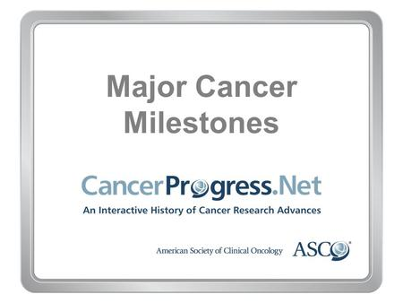 Major Cancer Milestones. 1970–1979 Major Cancer Milestones 1970–1979 Early 1970s: Increased use of radioactive ''seeds'' to target prostate and other.