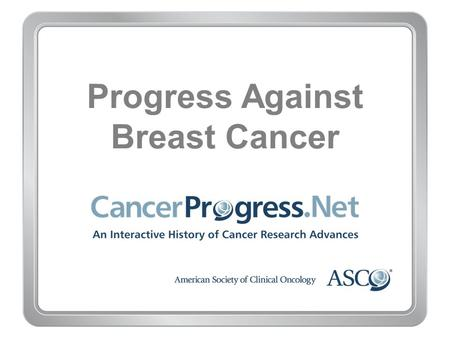 Progress Against Breast Cancer. 1970–1979 Progress Against Breast Cancer 1970–1979 1971: More limited mastectomy proven effective for early-stage breast.