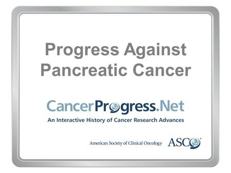 Progress Against Pancreatic Cancer. 1970–1979 Progress Against Pancreatic Cancer 1970–1979 1970s: Tobacco use found to cause pancreatic cancer.