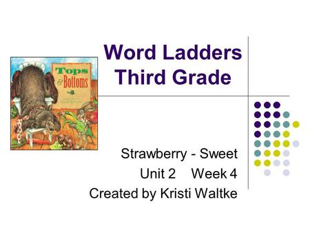 Word Ladders Third Grade Strawberry - Sweet Unit 2 Week 4 Created by Kristi Waltke.