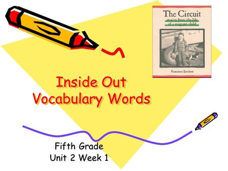 Inside Out Vocabulary Words Fifth Grade Unit 2 Week 1.
