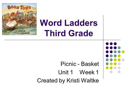 Word Ladders Third Grade Picnic - Basket Unit 1 Week 1 Created by Kristi Waltke.