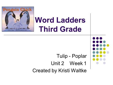 Word Ladders Third Grade Tulip - Poplar Unit 2 Week 1 Created by Kristi Waltke.