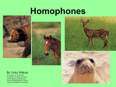 Homophones By Vicky Walkup Vicky Walkup 3rd grade L.A. Goal 5.05