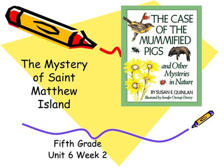 Fifth Grade Unit 6 Week 2 The Mystery of Saint Matthew Island.