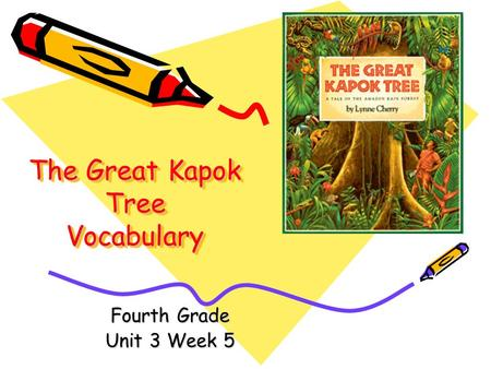 The Great Kapok Tree Vocabulary Fourth Grade Unit 3 Week 5.