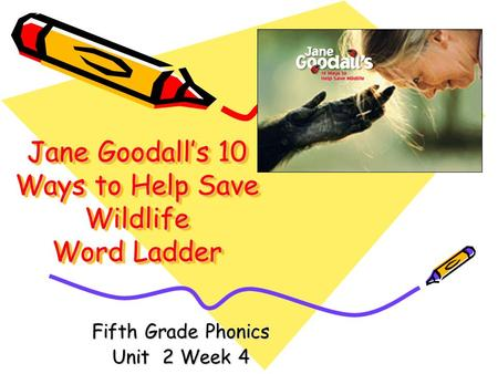Jane Goodalls 10 Ways to Help Save Wildlife Word Ladder Fifth Grade Phonics Unit 2 Week 4.