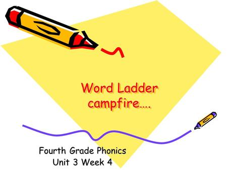 Word Ladder campfire…. Fourth Grade Phonics Unit 3 Week 4.