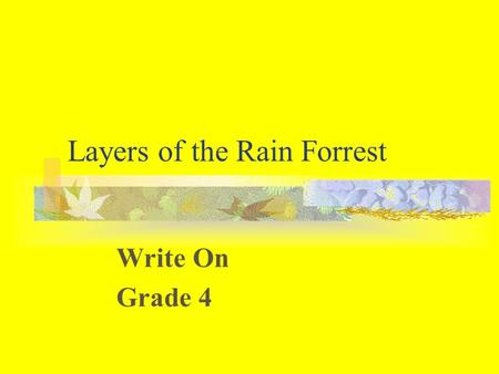 Layers of the Rain Forrest Write On Grade 4. Learner Expectation Content Standard: 2.0 Interactions Between Living Things and Their Environment. The student.