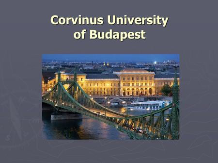 Corvinus University of Budapest. The logo and its name in Hungarian.