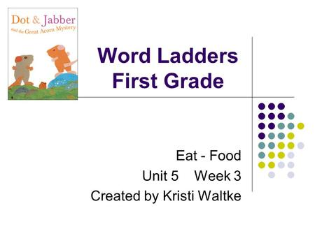 Word Ladders First Grade Eat - Food Unit 5 Week 3 Created by Kristi Waltke.