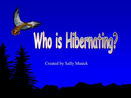 Created by Sally Musick What is hibernation? Hibernation is a time when animals go into a deep sleep for winter.