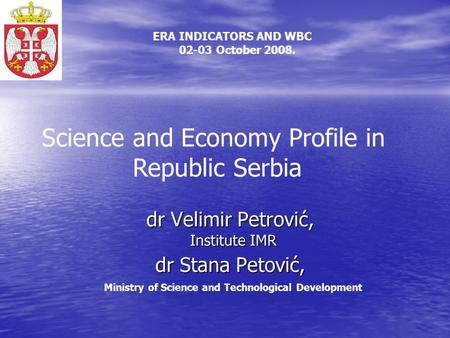 Dr Velimir Petrović, Institute IMR dr Stana Petović, dr Velimir Petrović, Institute IMR dr Stana Petović, Ministry of Science and Technological Development.