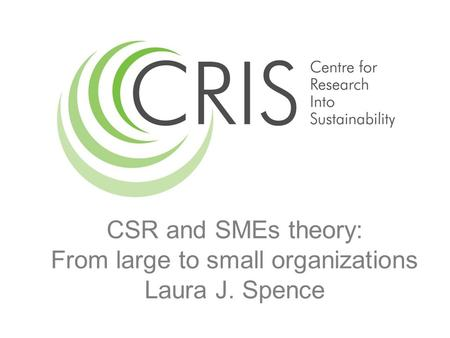 CSR and SMEs theory: From large to small organizations