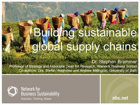 Building sustainable global supply chains Dr. Stephen Brammer Professor of Strategy and Associate Dean for Research, Warwick Business School Co-authors: