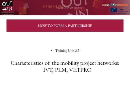 HOW TO FORM A PARTNERSHIP Training Unit 3.3 Characteristics of the mobility project networks: IVT, PLM, VETPRO.
