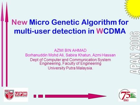 New Micro Genetic Algorithm for multi-user detection in WCDMA AZMI BIN AHMAD Borhanuddin Mohd Ali, Sabira Khatun, Azmi Hassan Dept of Computer and Communication.