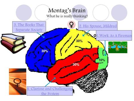 Montags Brain What he is really thinking! 1.Work As A Fireman 2. His Spouse, Mildred 4. Clarisse and Challenging the System 3. The Books That Separate.