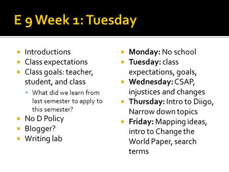 Introductions Class expectations Class goals: teacher, student, and class What did we learn from last semester to apply to this semester? No D Policy Blogger?