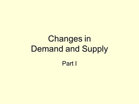 Changes in Demand and Supply Part I. Introduction As we have seen, the demand and supply curves meet to determine an equilibrium price. DS.