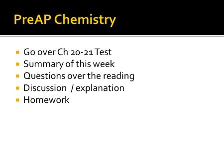 Go over Ch 20-21 Test Summary of this week Questions over the reading Discussion / explanation Homework.