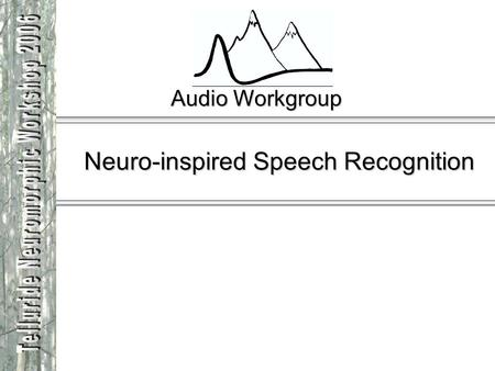 Audio Workgroup Neuro-inspired Speech Recognition.