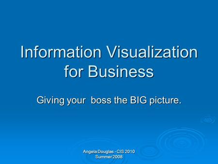 Angela Douglas - CIS 2010 Summer 2008 Information Visualization for Business Giving your boss the BIG picture.