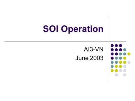 SOI Operation AI3-VN June 2003. Content AI3VN SOI activities Experimental Conference with AIT AI3VN SOI classroom Future plan.
