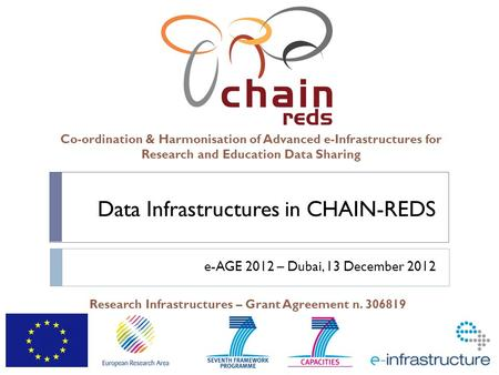 Co-ordination & Harmonisation of Advanced e-Infrastructures for Research and Education Data Sharing Research Infrastructures – Grant Agreement n. 306819.