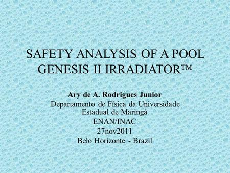 Safety analYsIs of a pool Genesis II irradiator