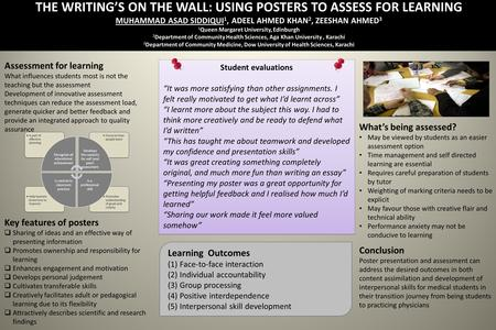 THE WRITINGS ON THE WALL: USING POSTERS TO ASSESS FOR LEARNING MUHAMMAD ASAD SIDDIQUI 1, ADEEL AHMED KHAN 2, ZEESHAN AHMED 3 1 Queen Margaret University,