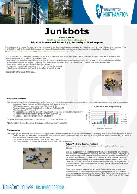 Junkbots Junkbots Scott Turner School of Science and Technology, University of Northampton The School of Science and Technology.