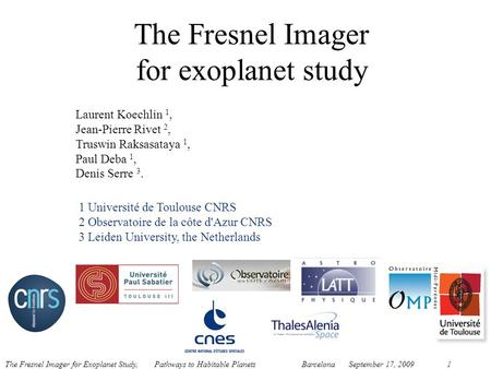 The Fresnel Imager for exoplanet study