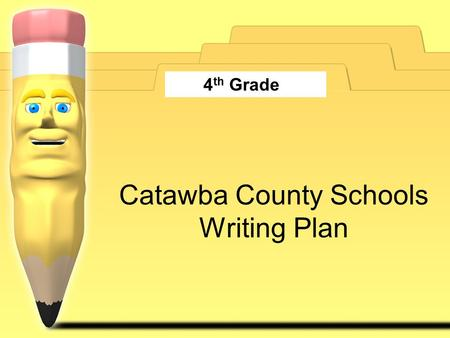 Catawba County Schools Writing Plan 4 th Grade. Components of Writing Plan NCSCOS Objectives Essential Questions Activities/Strategies Resources Assessment.