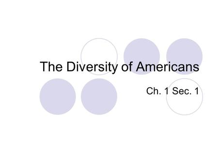 The Diversity of Americans Ch. 1 Sec. 1. What is Civics? Civics is the study of the rights and duties of citizens. List some rights and duties of citizens: