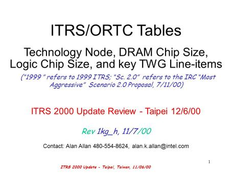 ITRS 2000 Update - Taipei, Taiwan, 11/06/00 1 ITRS/ORTC Tables Technology Node, DRAM Chip Size, Logic Chip Size, and key TWG Line-items (1999 refers to.