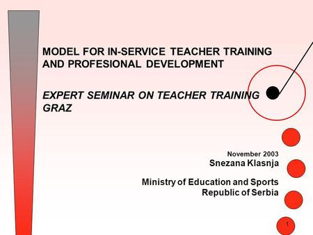 1 MODEL FOR IN-SERVICE TEACHER TRAINING AND PROFESIONAL DEVELOPMENT EXPERT SEMINAR ON TEACHER TRAINING GRAZ November 2003 Snezana Klasnja Ministry of Education.