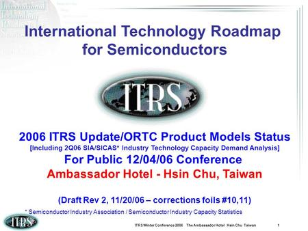 ITRS Winter Conference 2006 The Ambassador Hotel Hsin Chu Taiwan 1 International Technology Roadmap for Semiconductors 2006 ITRS Update/ORTC Product Models.