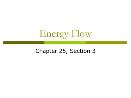 Energy Flow Chapter 25, Section 3. Converting Energy Matter All living things are made of matter. Matter is anything that has mass and takes up space.