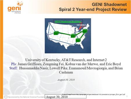 Sponsored by the National Science Foundation 1 August 30, 2010 GENI Shadownet Spiral 2 Year-end Project Review University of Kentucky, AT&T Research, and.