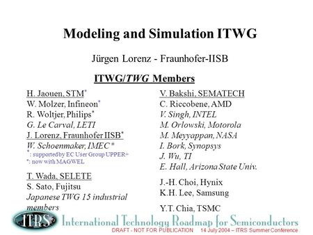 DRAFT - NOT FOR PUBLICATION 14 July 2004 – ITRS Summer Conference Modeling and Simulation ITWG Jürgen Lorenz - Fraunhofer-IISB ITWG/TWG Members H. Jaouen,