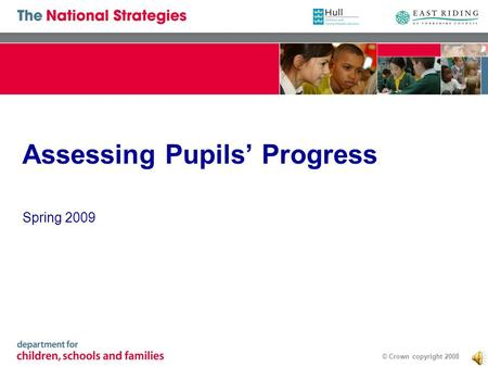 © Crown copyright 2008 Assessing Pupils Progress Spring 2009.