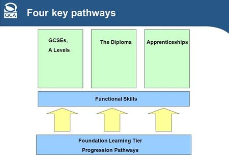 Four key pathways Functional Skills Foundation Learning Tier Progression Pathways GCSEs, A Levels The DiplomaApprenticeships.