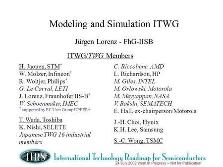 24 July 2002 Work In Progress – Not for Publication Modeling and Simulation ITWG Jürgen Lorenz - FhG-IISB ITWG/TWG Members H. Jaouen, STM * W. Molzer,