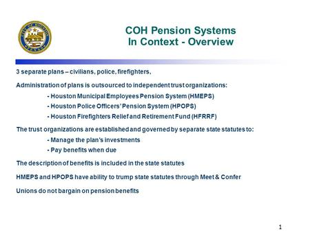 COH Pension Systems In Context - Overview