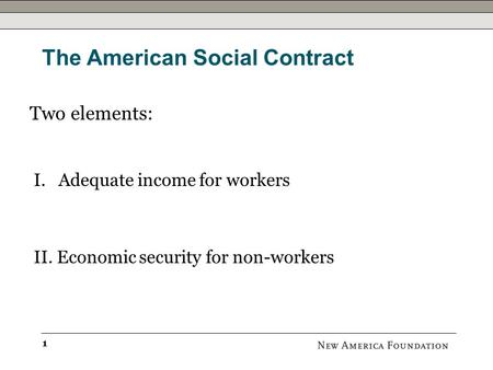 The American Social Contract Michael Lind New America Foundation October 2010.